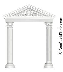 骨董品, 入口, arch., 宮殿, 映像, スタイル, 現実的, ベクトル, 建築である, バロック式, コロネド