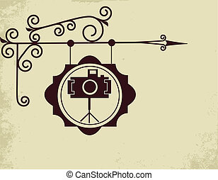 骨董品, 写真, 通り, 店の 印