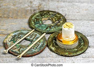 骨董品, 刺鍼術の 針, 中国語 硬貨