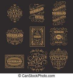 骨董品, 型, フレーム, ラベル, レトロ, logo., デザイン