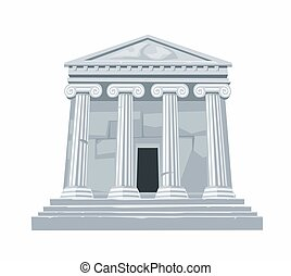 骨董品, 平ら, ギリシャ語, 隔離された, イラスト, ∥あるいは∥, バックグラウンド。, ローマ人, ベクトル, 白, 寺院, コロネド