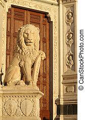 骨董品, 彫刻, ライオン, 大理石