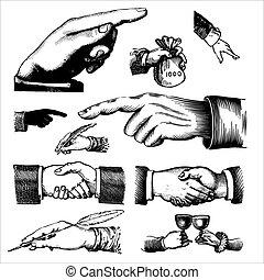 骨董品, 手, 彫版, (vector)