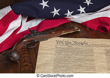 骨董品, 暗い, 州, 13, 木, 背景, ピストル, 旗, 憲法, 星, 合併した