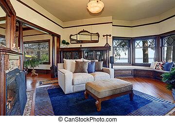 骨董品, 暮らし, スタイル, 部屋, 木製である, 型, 暖炉, cabinet.