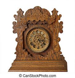 骨董品, 木製である, 時計