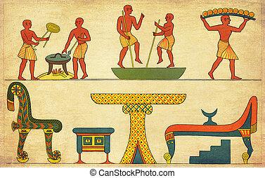 骨董品, 生活, エジプト, -, あらゆる, 絵, 日