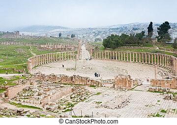 骨董品, 町, 古代, フォーラム, jerash, ローマ人, オバール