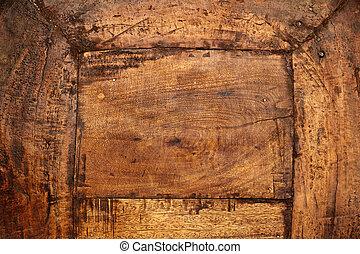 骨董品, 終わり, 木, の上, 板
