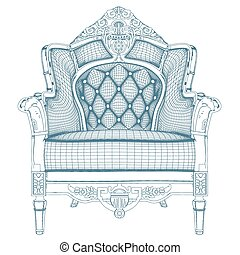 骨董品, 肘掛け椅子, ベクトル, 20.eps