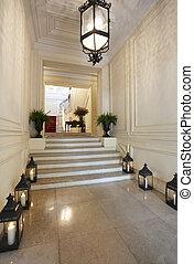 骨董品, 蝋燭, ランプ, 大理石, 廊下