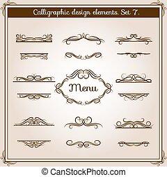 骨董品, 装飾用, グラフィック, 型, text., ベクトル, calligraphic, 要素, デザイン, 花のボーダー, ライン