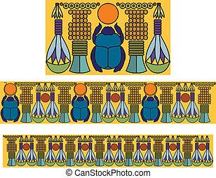 骨董品, 装飾, scarab., pattern., エジプト人