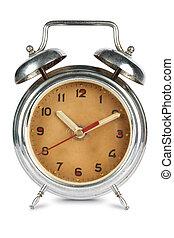 骨董品, 警報, さびた, 時計