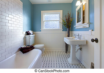 骨董品, 贅沢, デザイン, の, 青, 浴室