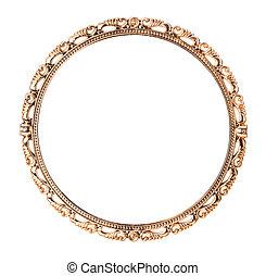 骨董品, 金, 鏡, 隔離された, 白, 背景