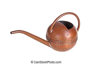骨董品, 銅, 水まき, 隔離された, に対して, 缶, 白