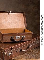 骨董品, 開いた, スーツケース