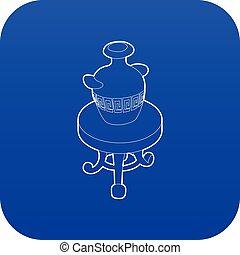 骨董品, 青, コーヒー, つぼ, ベクトル, テーブル, ラウンド, アイコン