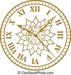 骨董品, 顔, 腕時計, illustration., 時計