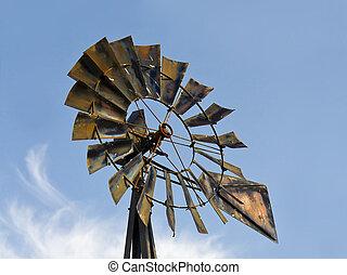 骨董品, 風車, 雲, &, 青い空