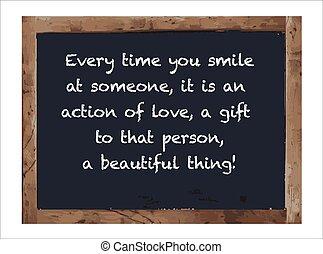 骨董品, 黒板, 隔離された, あらゆる, 時間, 微笑, あなた
