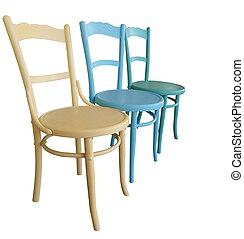 骨董品, 3, 椅子, ペイントされた