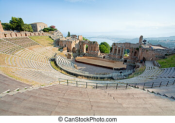 骨董品, greco, taormina, teatro, 円形劇場