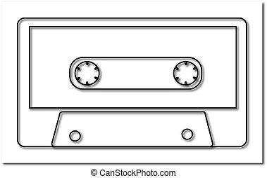 骨董品, illustration., 白, 古い, バックグラウンド。, 80 年代, ベクトル, 黒, 90 年代, 音楽, 影, オーディオ, レトロ, 情報通, カセット
