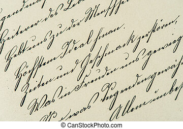 骨董品, manuscript., 型, handwriting., ペーパー, 年を取った