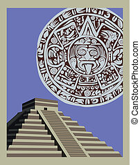 骨董品, mayan, ピラミッド, カレンダー