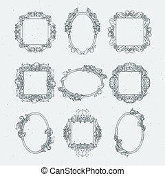 骨董品, victorian, 映像, frames., ベクトル, セット, 中に, バロック式 様式