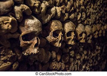 骨, パリ, 地下墓地, 頭骨