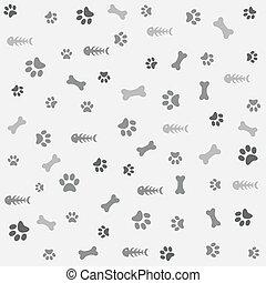 骨, 印刷, 犬, 背景, 足