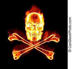 骨, fiery, 頭骨, 交差点
