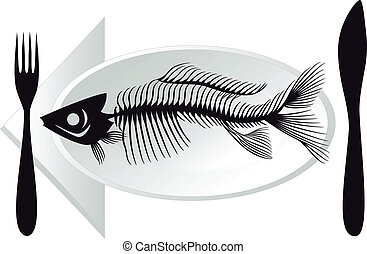 骨, fish, ベクトル, プレート