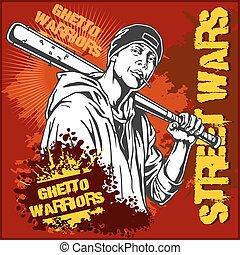 骯髒, warriors., bat., 集中居住區, 小流氓, 棒球, 匪徒, 背景。, graffiti