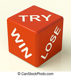 骰子, 取得胜利, 显示, 试图, 失去, 赌博, 红, 运气