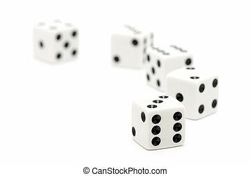 骰子, 宏, highkey, 在上方, 白色