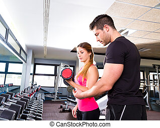 體操, 個人教練, 人, 由于, dumbbell, 婦女