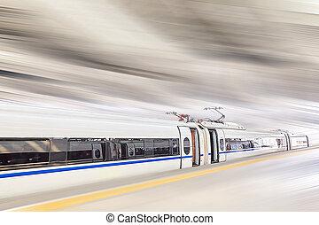 高いスピード, station., 列車, 鉄道