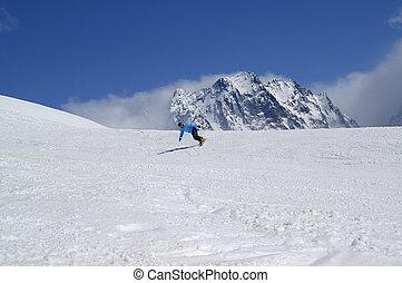 高い山, 下り坂に, スノーボーダー, 雪が多い