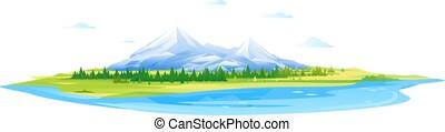 高い山, 湖の 森林