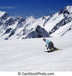 高い山, piste, スノーボーダー, スキー