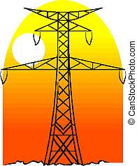 高い発電, 棒, 線, 電圧
