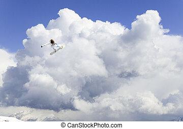 高い跳躍, スノーボーダー, 空気
