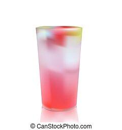 高い ガラス, の, 寒い, ジュース, ∥で∥, multi, フルーツ, そして, 氷