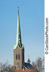 高い, タワー, ほっそりしている, 交差点, 教会