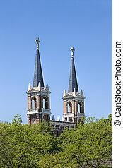 高い, 教会, 2, spires.
