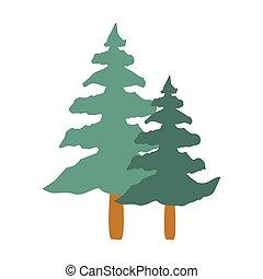 高い, 木, 隔離された, アイコン